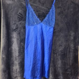 Blue Satin Lingerie Night Dress Slip
